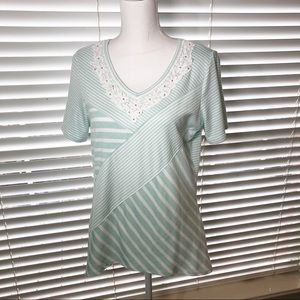 Alfred Dunner Green / White Striped Top sz S B134